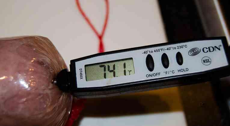 Temperatuur meten grillworst